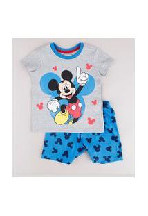 Pijama Infantil Mickey Manga Curta Cinza Mescla