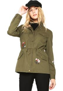 Jaqueta Parka Facinelli By Mooncity Bordados Verde