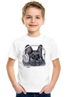 d1eca549b Cão Bandido. Camiseta Infantil Bulldog Francês Ouvindo Música