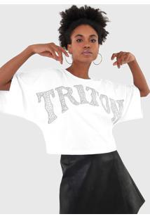 Camiseta Triton Aplicaã§Ãµes Branca - Branco - Feminino - Algodã£O - Dafiti