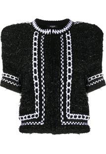 Balmain Jaqueta Cropped De Tweed Com Mesh - Preto