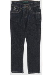 Calça Jeans Lacoste Kids Infantil Pespontos Azul