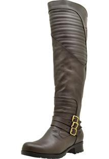 Bota Over Knee Atron Shoes Cano Longo Café d21395b3a4