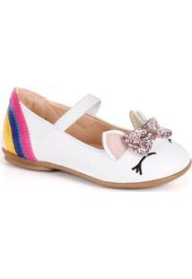 Sapato Infantil Menina Rio Unicórnio Feminino - Feminino-Branco