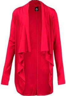 Casaco Básico Com Detalhe De Pontas Feminino - Feminino-Vermelho