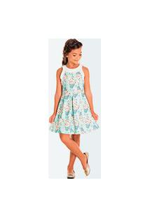 Vestido Pic Nic Infantil Jacquard Merona Verde Claro