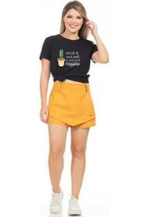 Camiseta Clara Arruda Lisa Feminina - Feminino-Preto