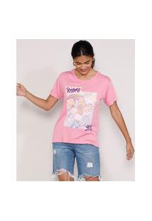 Camiseta Feminina Manga Curta Rugrats Os Anjinhos Flocada Decote Redondo Rosa
