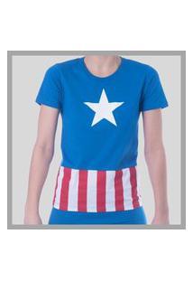 Pijama Evanilda Conjunto Curto Infantil Masculino Capitão América Azul - 52050048