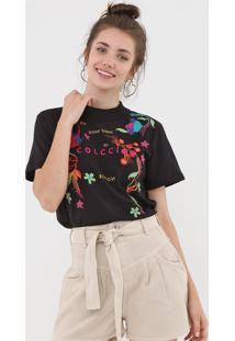 Camiseta Colcci Bordada Preta