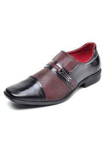 Sapato Social Masculino Sem Cadarço Top Flex Vinho