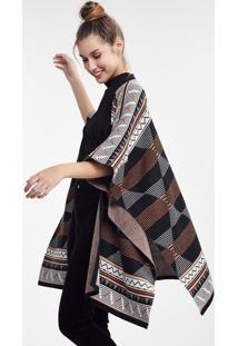 Casaco Kimono Feminino Em Tricô Étnico