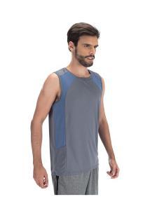 Camiseta Regata Oxer Sides - Masculina - Cinza Esc/Azul