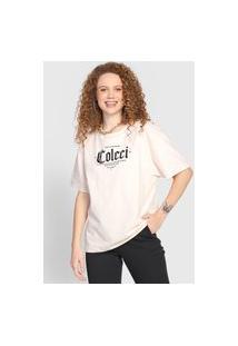 Camiseta Colcci Lettering Bege