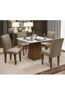 Conjunto De Mesa Para Sala De Jantar Com 4 Cadeira Florença Fit - Dobue - Castanho / Branco Off / Mascavo