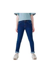 Calça Hering Kids Jeans Infantil Moletom Skinny Azul