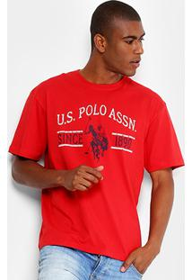 Camiseta U.S. Polo Assn Estampada Masculina - Masculino-Vermelho 325fc87a777bc