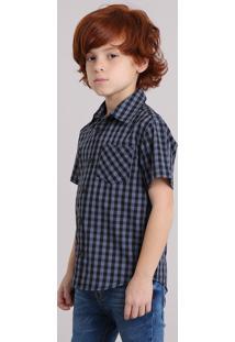 Camisa Infantil Xadrez Manga Curta Com Bolso Cinza