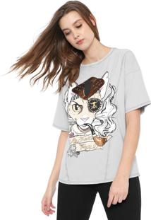 Camiseta My Favorite Thing(S) Oversize Estampada Cinza - Kanui