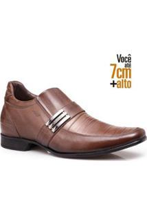 Sapato Social Couro Rafarillo Masculino Salto 7Cm Flexível - Masculino-Amadeirado