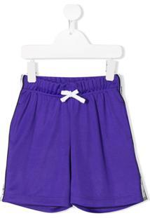 Chiara Ferragni Kids Stripe Trim Shorts - Roxo