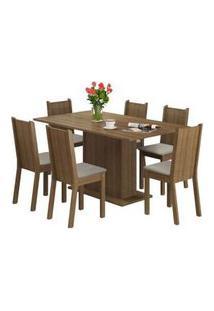 Conjunto Sala De Jantar Madesa Megan Mesa Tampo De Madeira Com 6 Cadeiras Rustic/Pérola Rustic