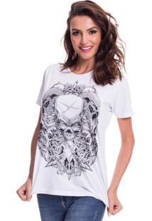 Camiseta Jazz Brasil Caveira Espada Branco - Branco - Feminino - Algodã£O - Dafiti