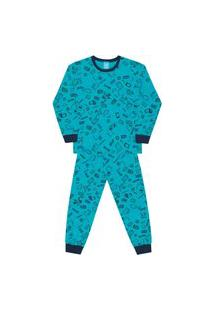 Pijama Bebê Menino Manga Longa Algodão Kamylus 12495 Verde Piscina