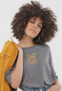 Camiseta Colcci Lettering Cinza - Cinza - Feminino - Algodã£O - Dafiti