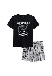 Pijama Infantil Menino Camiseta Manga Curta E Bermuda Gamer Johnny Fox