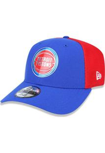 eb6db1bf8ac0b Bone 3930 New Era Detroit Pistons Nba Aba Curva - Masculino-Azul+Vermelho