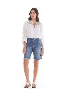 Bermuda Boy Fit Com Puidos Jeans 38