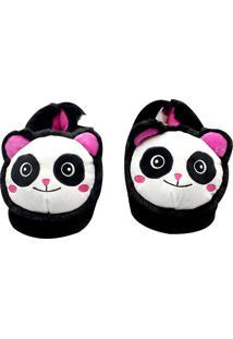 Pantufa Panda Zona Criativa Preta - Kanui