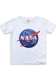 Camiseta Ampla Geek Cool Tees Nasa Vintage Feminina - Feminino-Branco