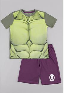 Pijama Infantil Carnaval Hulk Manga Curta Verde