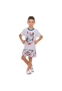 Pijama Curto Infantil Menino Cool Dog Mescla - Evanilda