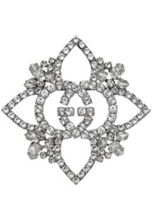 Gucci Broche Floral 'Duplo G' Com Cristais - Metálico