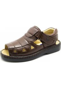 Sandália Couro Doctor Shoes 303 Pespontos Café