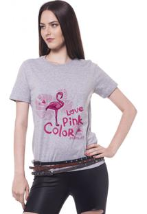 Camiseta Joss Feminina Love Pink Cinza