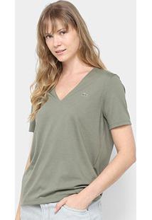 Camiseta Lacoste Gola V Feminina - Feminino-Verde Militar