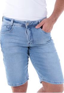 Bermuda Jeans Slim Delavê 5 Bolsos Azul Claro Traymon 709