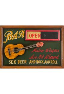 Quadro Sex Beer And Rock 40X60X3 Verde Oldway