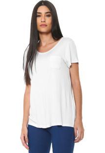 Camiseta Rovitex Com Bolso Branca - Branco - Feminino - Viscose - Dafiti