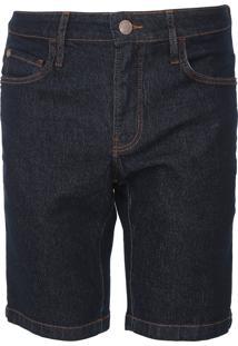 Bermuda Jeans Coca-Cola Jeans Reta Pespontos Azul-Marinho