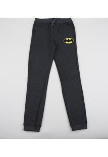 Calça De Moletom Infantil Batman Cinza Mescla Escuro