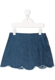 Il Gufo Saia Jeans Com Barra Ondulada - Azul