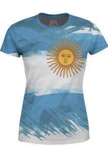 Camiseta Estampada Baby Look Over Fame Argentina Azul