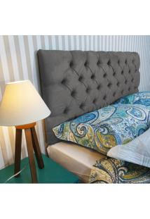 Cabeceira Roma Casal 1,40M Capitonê Painel Suede Cinza Chumbo Escuro Kasabela