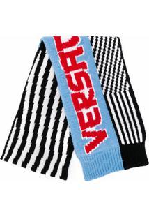 Versace Cachecol Listrado De Tricô Com Logo - Preto