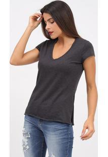 Camiseta Com Fendas- Cinza- Tritonforum